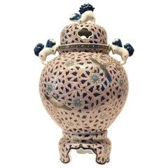 Japanese Lidded Porcelain Incense Burner Vase by Sho-un