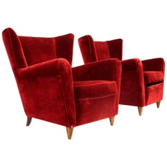 Italian Wingback Velvet Armchairs