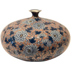 Japanese Ovoid Contemporary Gilded Hand-Painted Porcelain Vase by Sho-un