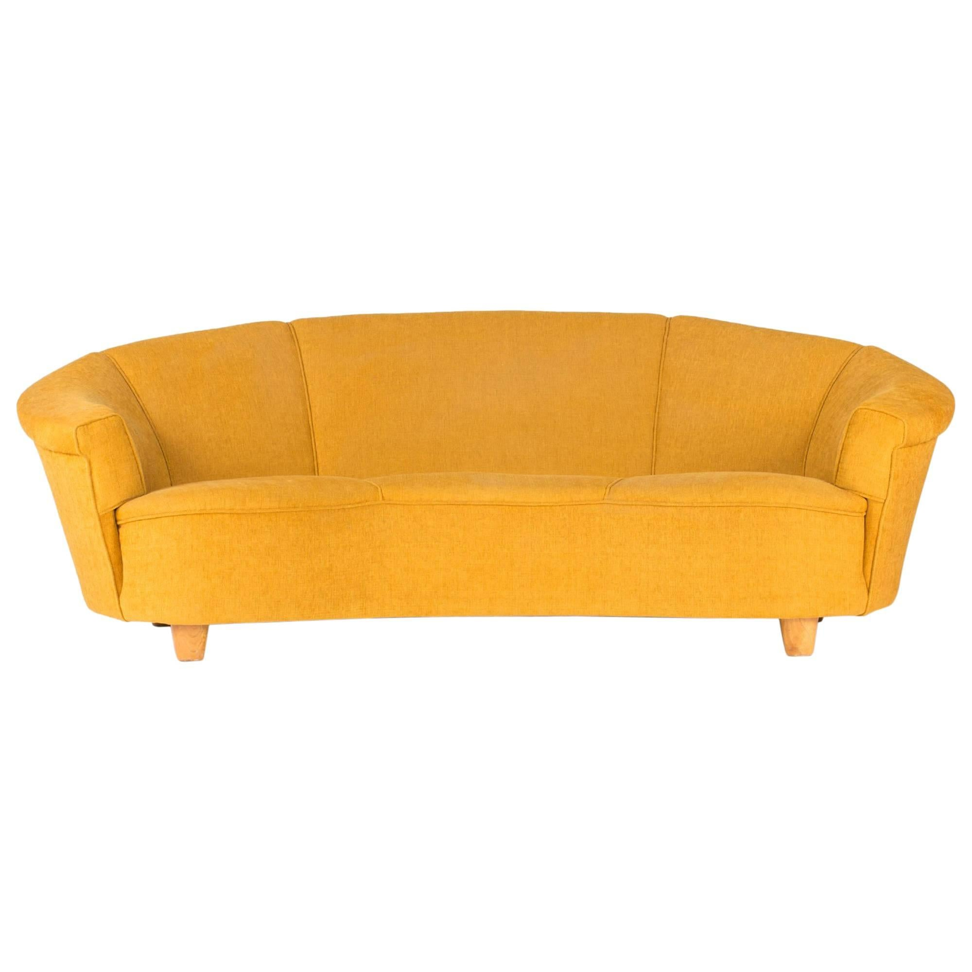 Curved Three Seat Sofa in the style of Otto Schulz