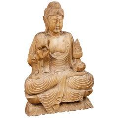 20th Century, Oriental Wooden Buddha Sculpture