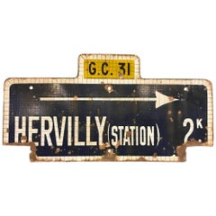 Enamel Sign French Railway Station Hervilly