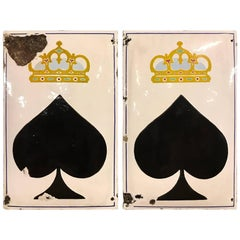 Pair of Big Enamel King of Spades Poker Signs