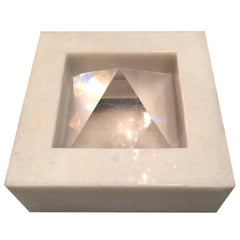 Carrara Marble and Crystal Sculpture by Paolo Tommasi for Armon