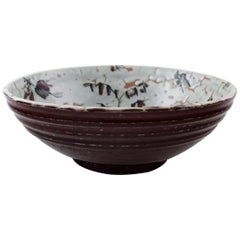 Royal Copenhagen Ceramics, Unique Bowl Signed by Thorkild Olsen, circa 1950