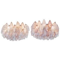 Pair of Vintage Venini Glass Chandeliers