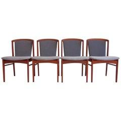 Four Teak Dining Chairs Designed by Erik Buch for Christensens Mobelfabrik