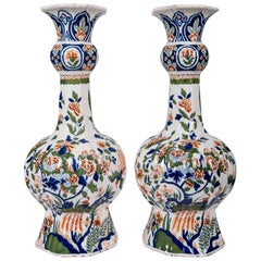 Dutch Delft Polychrome Vases A Pair
