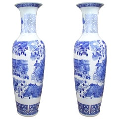 Pair of Porcelain Blue and White Oriental Vases