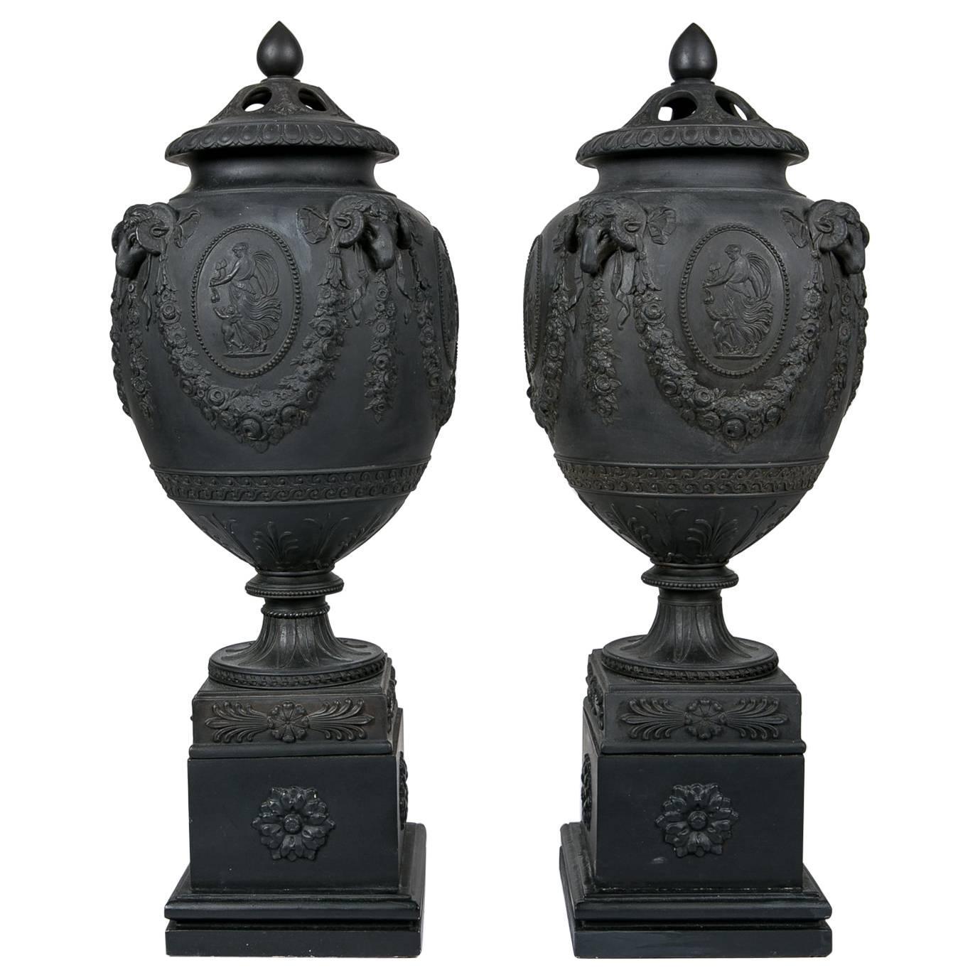 Wedgwood Black Basalt Urns Made in England circa 1820
