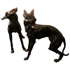 Pair of Bronze Dogs, 1960s-1970s