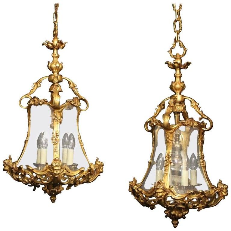 Italian Pair of Four-Light Gilded Bronze Cherub Lanterns For Sale