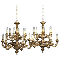 Florentine Pair of Twelve-Light Silvered Polychrome Chandeliers