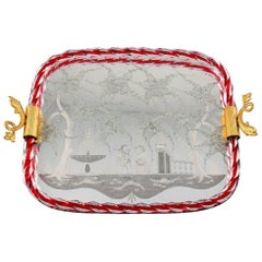 Murano, Italy, Art Glass Rectangular Tray with Mirror Coating