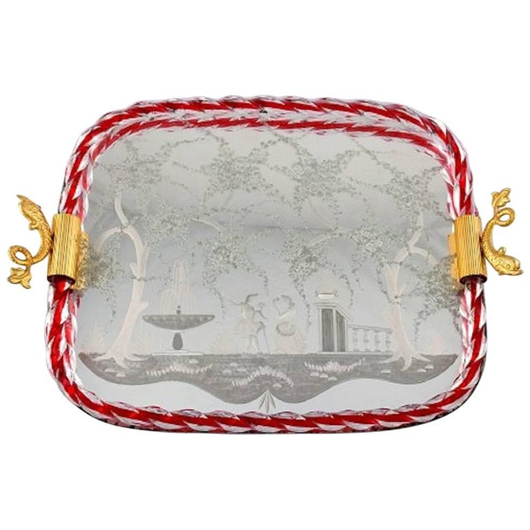 Murano, Italy, Art Glass Rectangular Tray with Mirror Coating For Sale