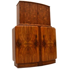 Art Deco Figured Walnut Cocktail Cabinet Vintage, 1930s