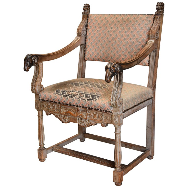 Highly Decorative French Limed Oak Armchair In The