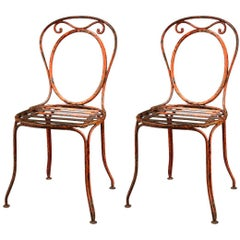 Pair of Open Oval Back Café Chairs