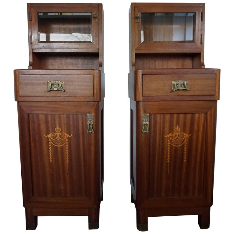 Wonderful Mahogany and Satinwood Inlay Art Nouveau Bedside Cabinets Nightstands