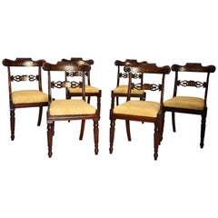 Fine Quality Set of Six Regency Rosewood Dining Chairs with Brass Inlay