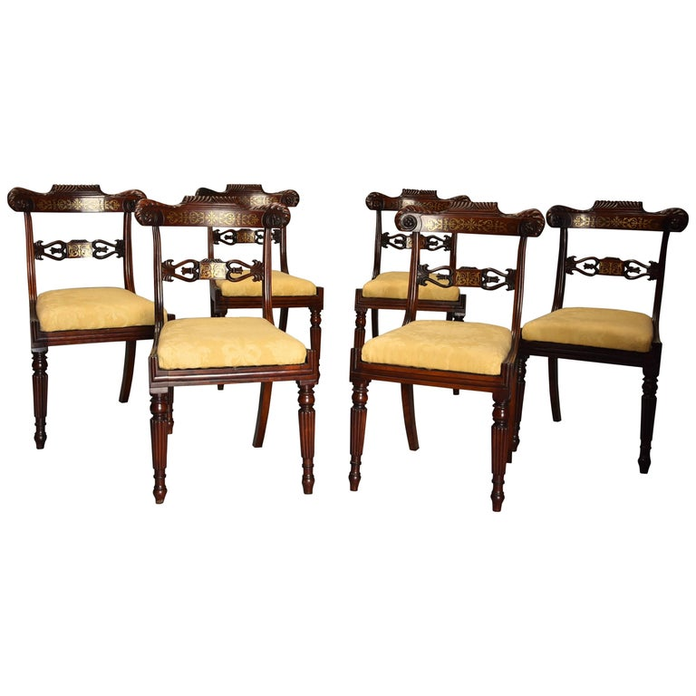Fine Quality Set of Six Regency Rosewood Dining Chairs with Brass Inlay For Sale