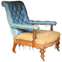 19th Century, Deep Buttoned Back Low Armchair