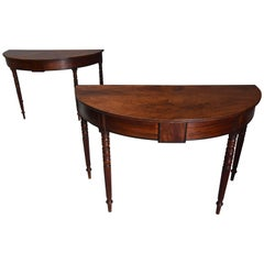 Pair of Good Quality Early 19th Century Mahogany Demilune Console Tables