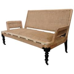 French 19th Century Sofa with Square Arms in Burlap