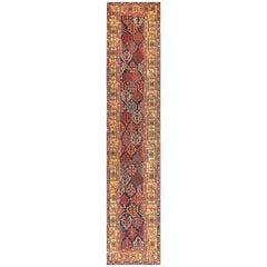 Early Antique Tribal Kurdish Shrub Design Runner Rug