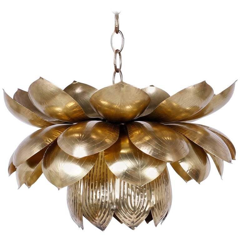 Rare Larger Size Mid-Century Brass Lotus Pendant or Light Fixture