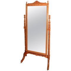 Arts & Crafts Carved Ash Cheval Mirror