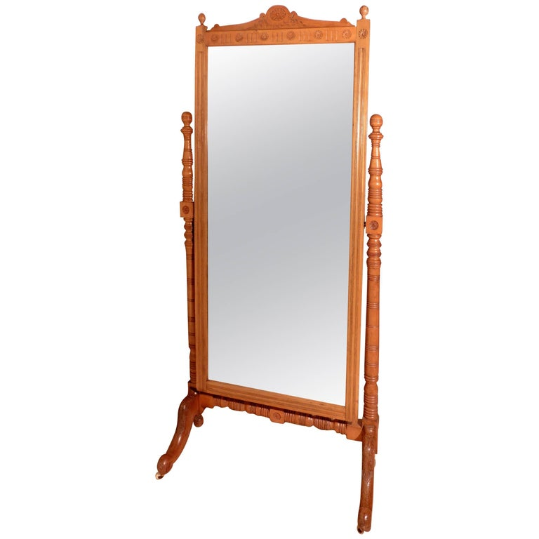 Arts & Crafts Carved Ash Cheval Mirror For Sale