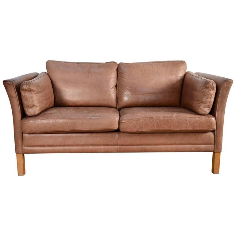 Danish Leather Sofa by Mogens Hansen, 1960s