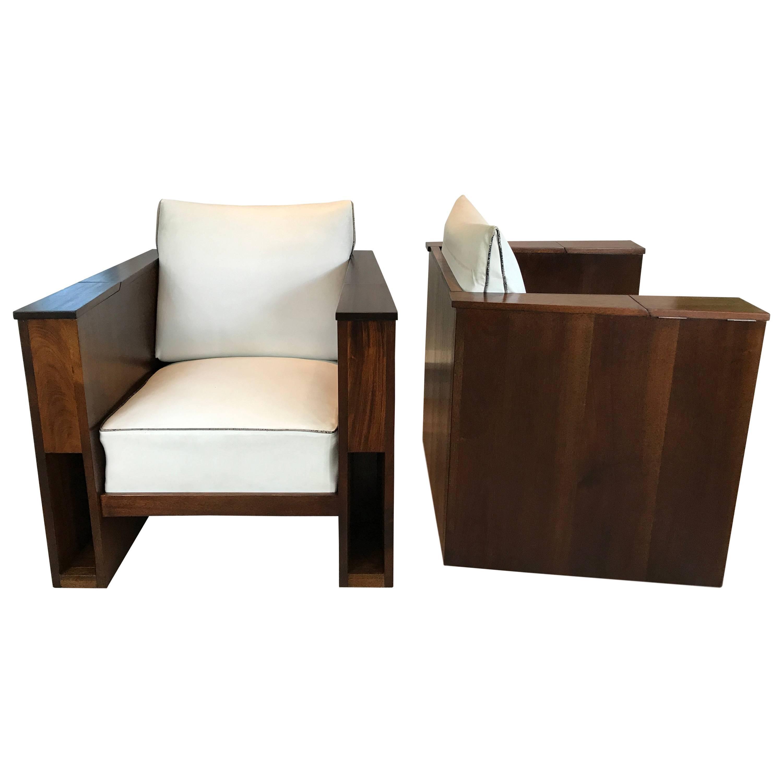 Pair of Art Deco Mahogany Club Chairs