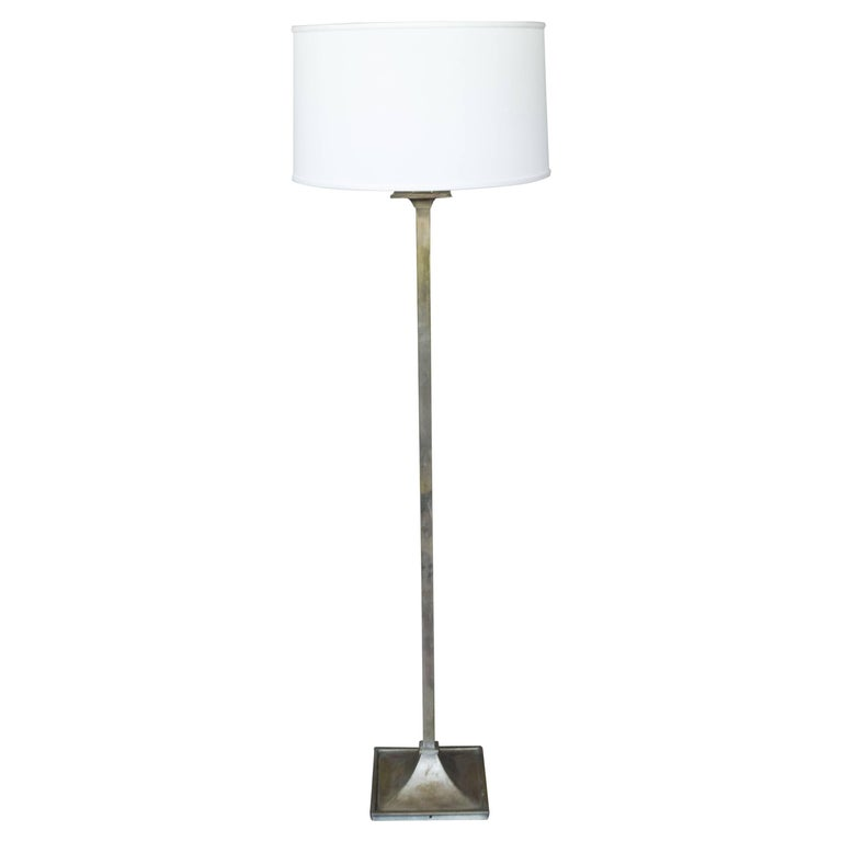 French 1950s Mid-Century Modern Nickel-Plated Floor Lamp