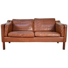 Børge Mogensen Style Leather Sofa