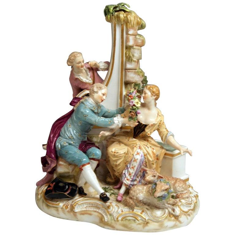 Meissen Shepherds Figurines Model 2870 Johann Joachim Kaendler, circa 1850