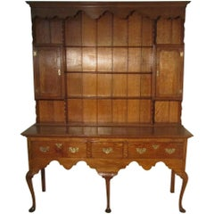 Large Golden Oak Georgian Country Oak Dresser, Pad Foot, Plate Rack