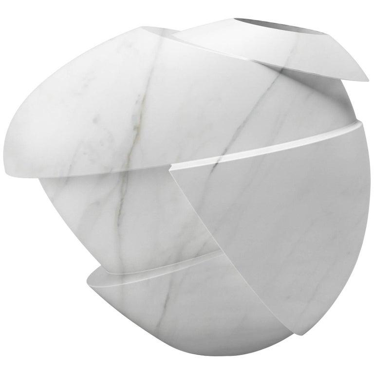 Vase Sculpture Modern Marble White Carrara Italian Limited Edition Design