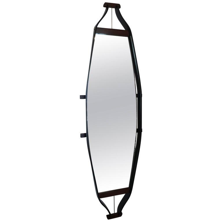 Italian Elongated Floating Mirror For Sale
