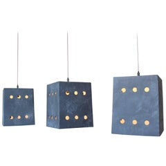 Square Porcelain Pendant with Circle Cut-Outs Designed by Brendan Bass