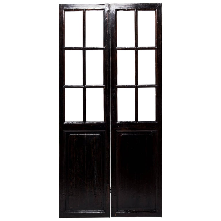 Pair Of Chinese Carved And Painted Glass Doors For Sale At 1stdibs