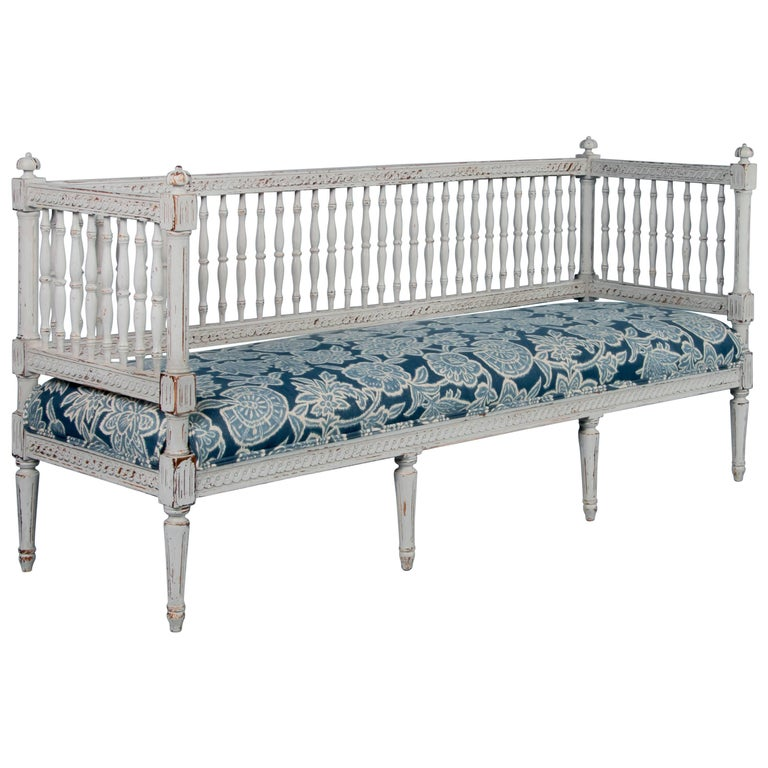 Swedish Gustavian Bench Painted Gray, Antique, 19th Century
