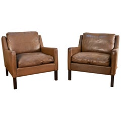 Pair of Børge Mogensen Style Leather Easy Chairs