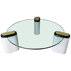 Karl Springer Style Minimalist Tri-Legged Coffee Table with Round Glass Top