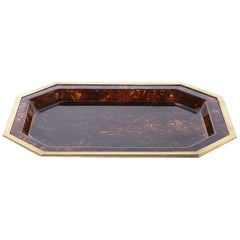 French Resin Tray with Brass Border Detail, circa 1970