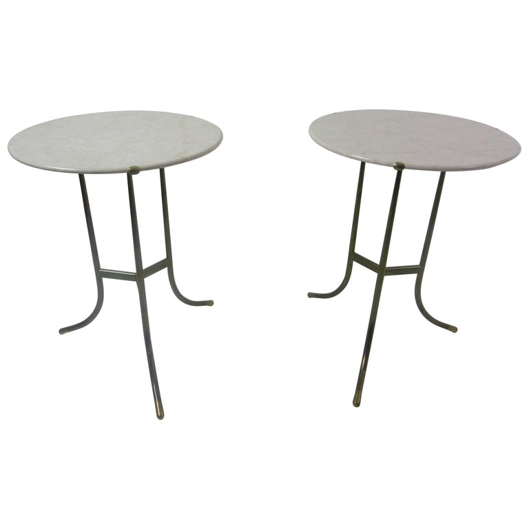 Cedric Hartman Marble and Brass End Tables 1