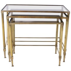 Set of Three Nesting Tables with Glass Tops, circa 1970