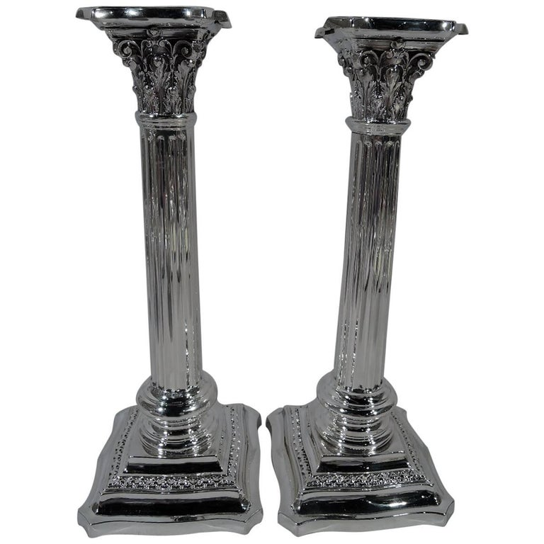 Pair of Antique American Sterling Silver Classical Column Candlesticks
