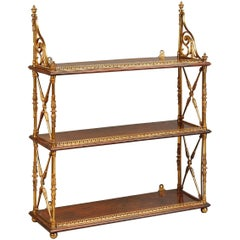 Regency Ormolu-Mounted Rosewood Tiered Hanging Shelves